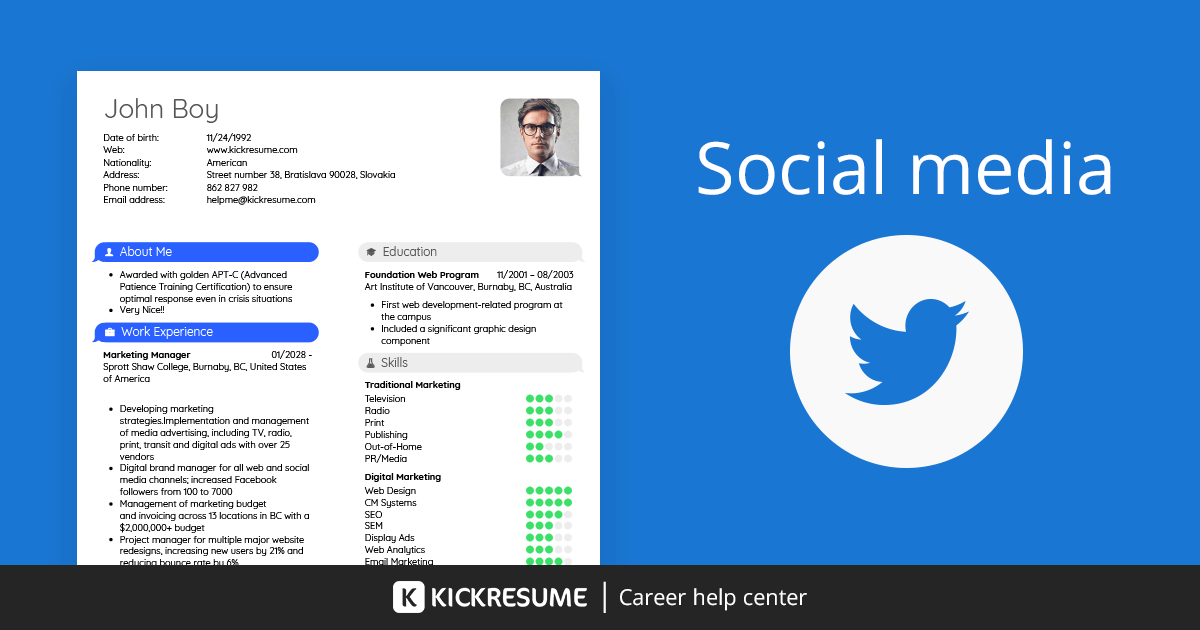 how to include social media on a resume   examples
