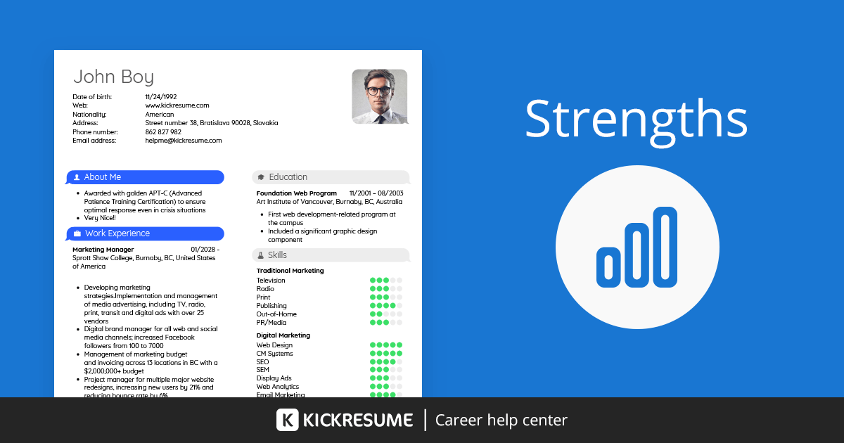 strengths and graphs on a resume   examples