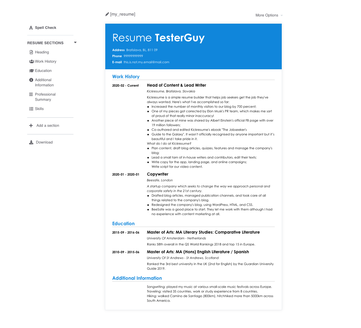 Top 10 Resume Builders Of 2020 We Tried Them All So You Don T Have To Examples Kickresume