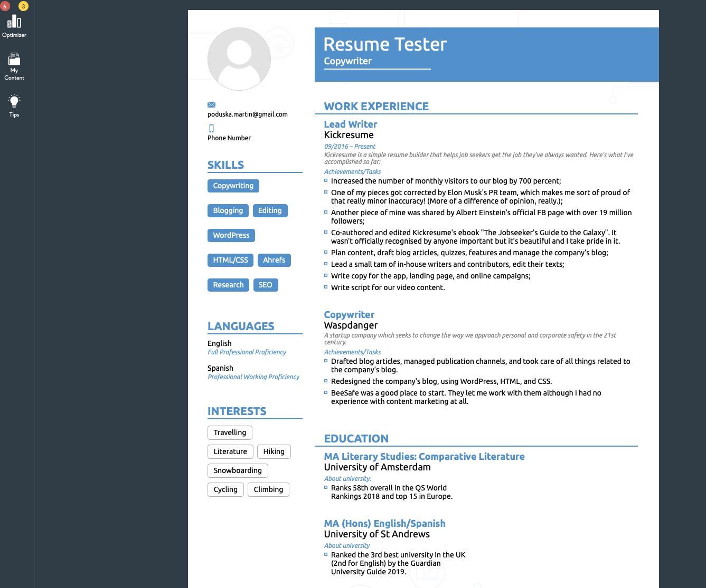 Novoresume Resume Builder