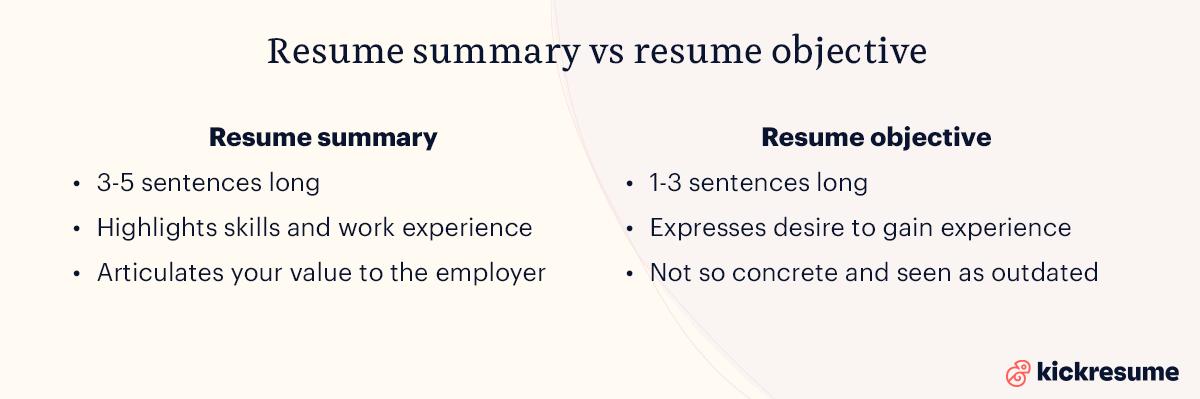resume summary vs resume objective